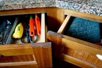 Kitchen drawers in a geodesic dome