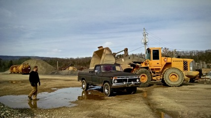 Farm truck at the gravel pit
