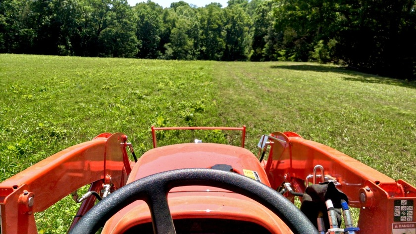 tractor mowing