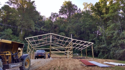 pole barn being built