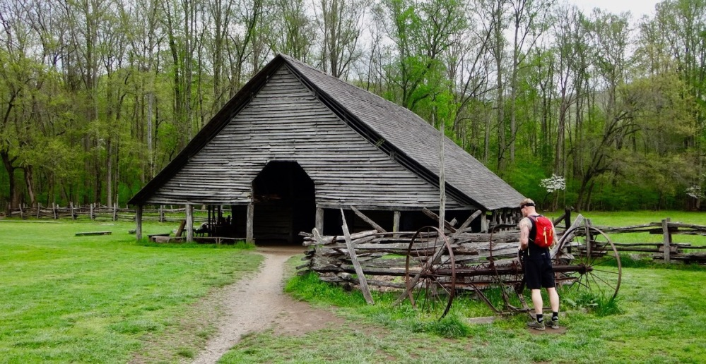barn and hiker in the Smokies