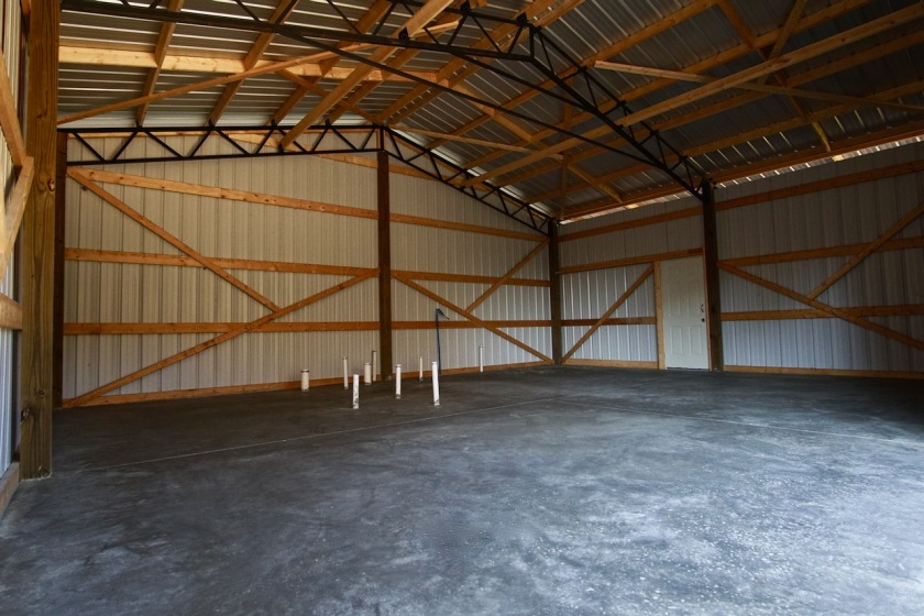 inside of barn with polished concrete floor