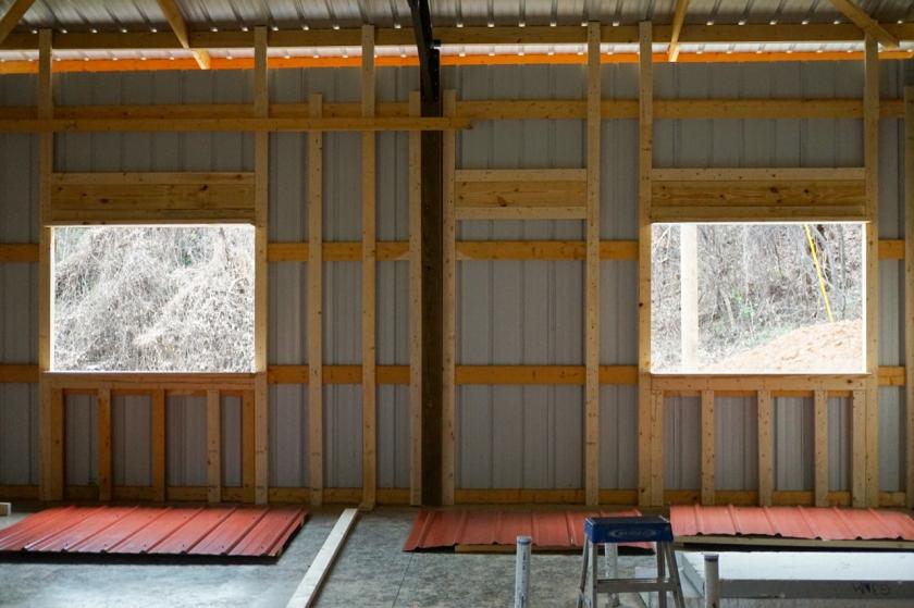 inside of pole barn framing and windows