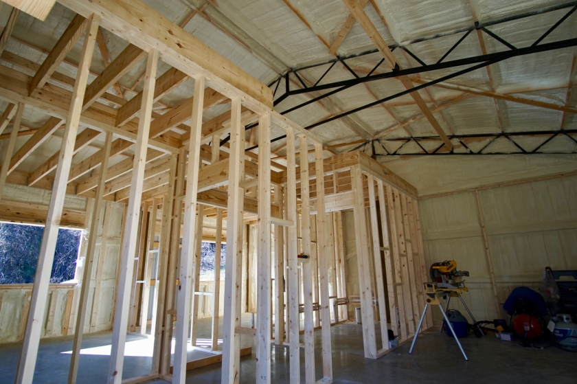 sprayfoam insulation and framed interior of building