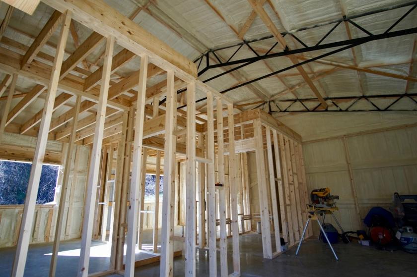 sprayfoam insulation and framed interior of building