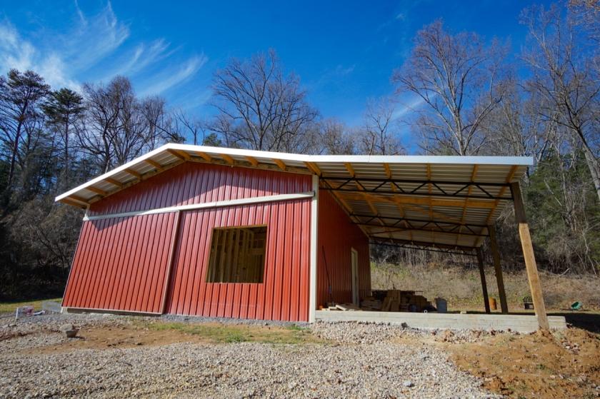 exterior of pole barn under construction