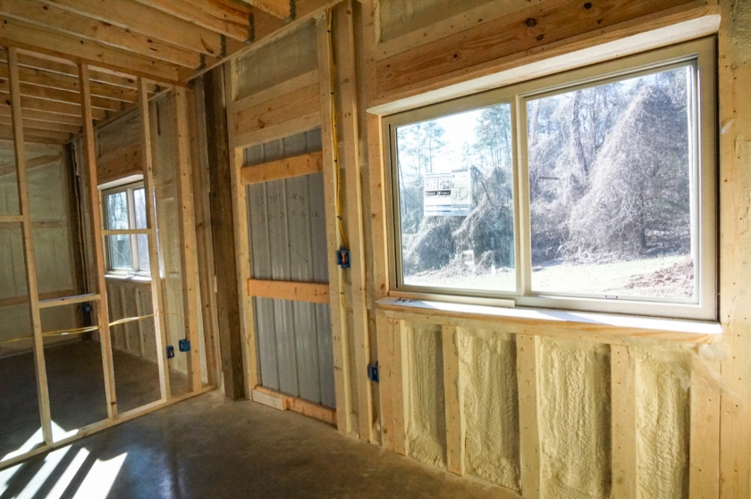 new construction slider window from the inside