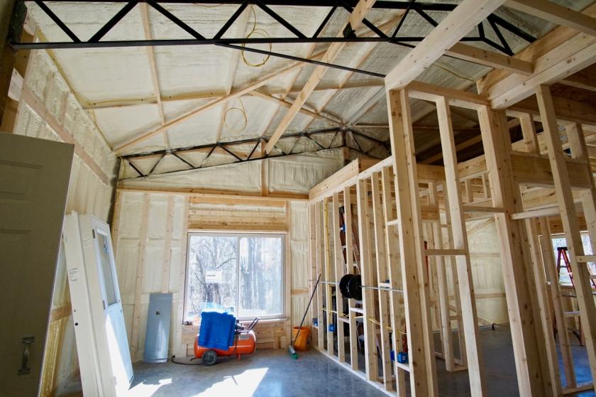 interior of bungalow under construction