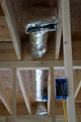 ductwork and electric box with spray foam insulation