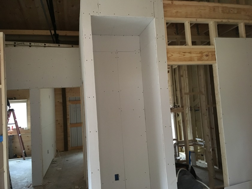 construction of new house with drywall