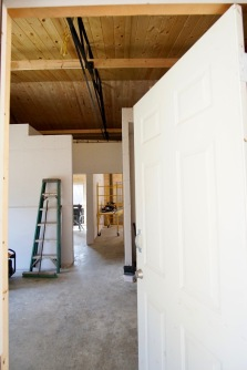 interior of mountain cabin with drywall hung