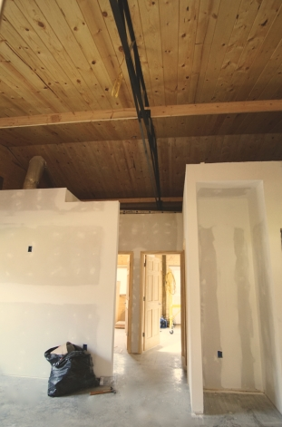 interior of mountain cabin with finished drywall