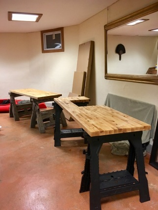 butcher block counters being finished on sawhorses