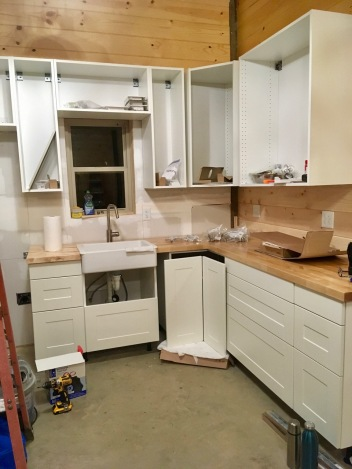 IKEA kitchen being installed in mountain cabin