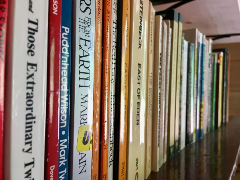 Mark Twain and Steinbeck books on a shelf