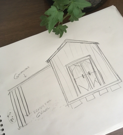 sketch of overhang extension on a storage shed
